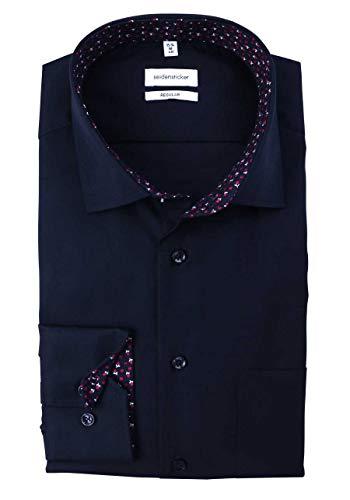 Seidensticker Herren Regular Fit Langarm Poplin Hemd, Blau (Blau 19), (Herstellergröße: 41)