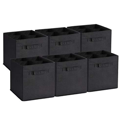 Amazon Brand – Umi Set di 6 Contenitore Pieghevole, Scatole per Armadio con 2 Manici, Cubi Cassetti in Tessuto Non Tessuto, Organizer Cesti Giocattoli per Casa, Ufficio, Asilo Nido, Colore Nero