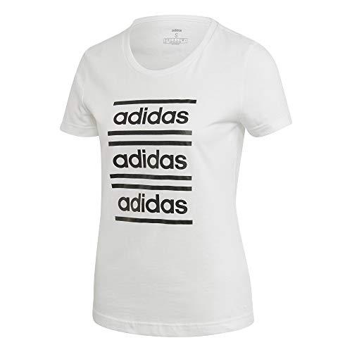 adidas W C90 Tee T-Shirt für Damen XXL Weiß/Schwarz