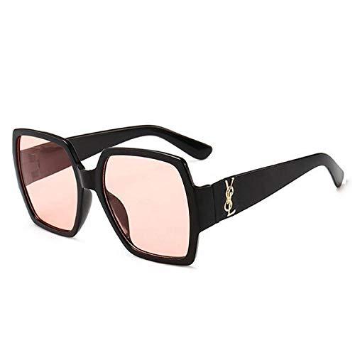 hqpaper Gafas de sol para mujer, caja de moda, gafas de sol coloridas, lentes retro oceánicas, montura negra, polvo transparente