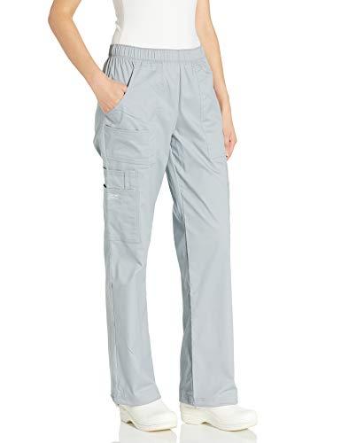 Cherokee Women's Mid-Rise Elastic Waist Cargo Scrubs Pant, Grey, X-Small Petite