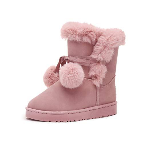 Yefree Botas de Nieve para otoño e Invierno para Mujer Botas de Nieve con Bola de Pelo Zapatos de algodón cálidos Botas de Invierno de Moda Botas Casuales Salvajes