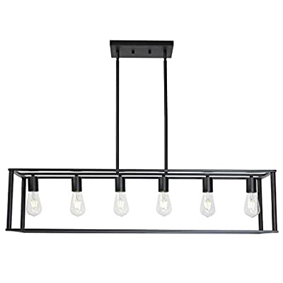 BONLICHT 6 Light Rectangle Chandelier Contemporary Farmhouse Linear Pendant Lighting Black Industrial Vintage Kitchen Island Metal Cage Ceiling Light Fixtures for Living Room Dining Room