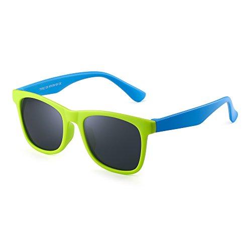 JM Polarizadas Niños Gafas de Sol Goma Chicas Chicos Hijos Flexible Anteojos Años 3-12(Verde Azul/Gris Polarizado)