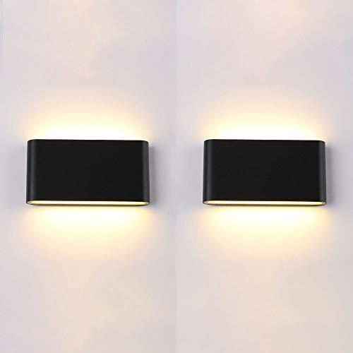2 paquetes LED moderno Lámpara de pared a prueba de agua, Luz de pared de montaje al aire libre al aire libre de aluminio de 10W, lámparas de pared de pared negro mate para porche escalera Corredor de