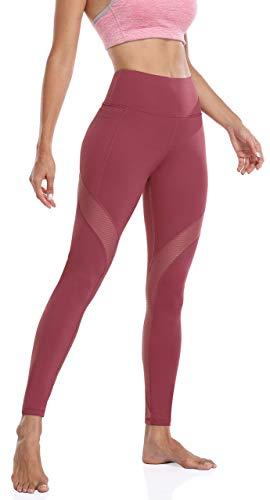 Anwell Lange Leggins mit Tasche Damen Blickdicht Trainingshose High Waist Fitnesshose stützende Damen Bekleidung elegant Rot M