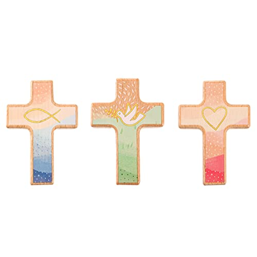 NOLITOY 3 stks Mini Christian Houten Kruis Ornament, Heilig Kruis voor Desktop Wanddecoratie