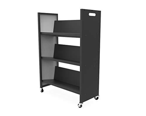 FixtureDisplays Metal Book Cart Rooling Book Truck Library Book Cart Wheels Pew Cart Book Trolley 11241-L-2D