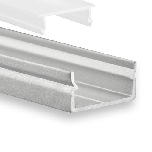 Naos - Perfil de aluminio para LED P21 (3 unidades, 2 m, para tiras LED de hasta 14 mm, incluye cubierta opalina (no visible)