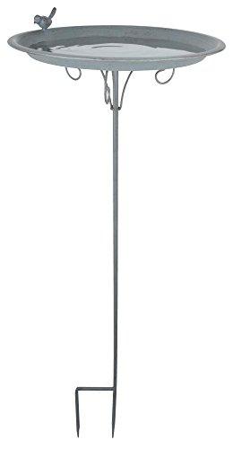 """Esschert Design Grey Metal Vogeltränke, auf Stab, aus dem Material """"Metall"""", 35,5 x 35,5 x 107,0 cm"""