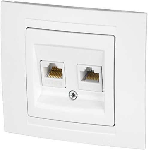 Toma de red CAT6 de 2 vías, todo en uno, marco + pieza de montaje empotrado + cubierta (serie M1 blanca)