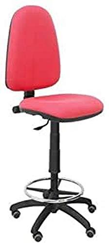 Piqueras Y Crespo T04CP Ayna bali- Taburete ergonómico, regulable en altura, aro reposapiés y ruedas de parquet, 100/123x46x40 cm, Rojo