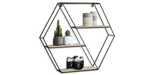 LIFA LIVING Hexagon Wandregal aus Metall und Holz mit 4 Böden, Schwarzes Industrie Gewürzregal mit 4 Etagen, Hängeregal, 58 x 51 x 11 cm