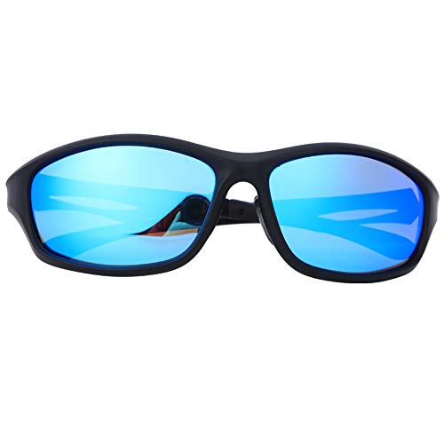 Gafas De Sol Polarizadas De Moda Protección UV Gafas De Bicicleta para Deportes Al Aire Libre Ciclismo Pesca Conducción Marco Negro Lente Azul