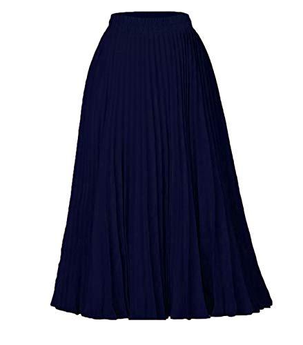 Women A-Line Lange Rok/Mid-Length Plooirok Effen Kleur Hoge Taille Rok Casual Elastiek in De Taille,Blue,XL