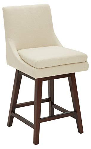 Amazon Brand – Stone & Beam Alaina Contemporary High-Back Swivel Seat Counter Stool, 39'H, Beige