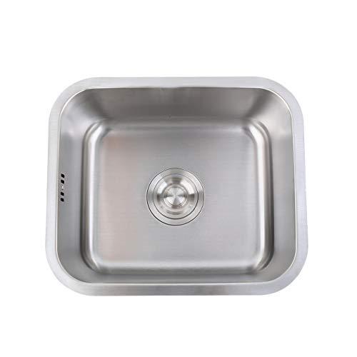 Iglobalbuy Fregadero de cocina de un solo recipiente, fregaderos cuadrados de acero inoxidable 304 con sifones de drenaje para cocina, Sobre encimera o enrasado