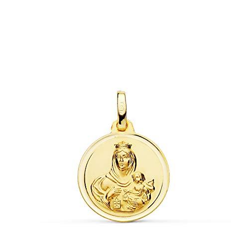 Medalla Escapulario V. Carmen y C. Jesús Oro 18 Kilates Bisel 16mm