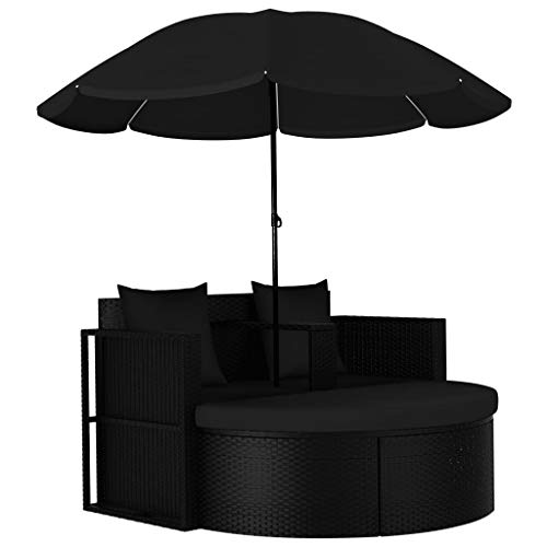 Festnight Outdoor Lounge Bed with Parasol Set Black Poly Rattan Patio Garden Bed Cushioned Sunbed for Balcony, Pool, Lawn, Backyard Furniture