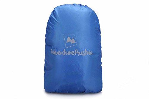AdventureAustria Copri Zaino per Pioggia Borsa Protezione Impermeabile Antipioggia - Adatta Maggior degli Zaini. Elasticizzato Regolabile & Catarifrangente. (Blu, Small 15-35L)