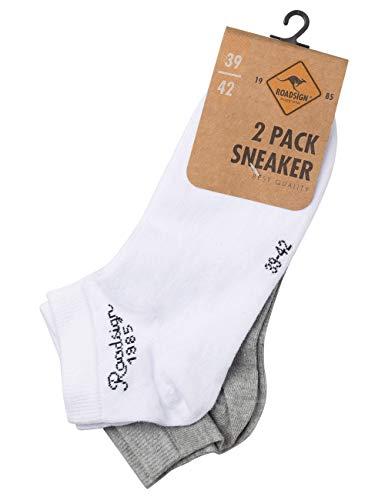 ROADSIGN australia Unisex Sneakersocken in Knöchellänge weiß/hellgrau | 39-42