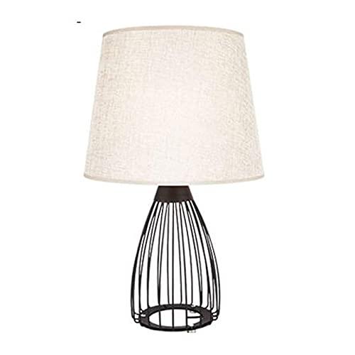 FHKBK Lámpara de mesita de Noche, lámpara de Mesa E27 Lámpara de mesita de Noche, lámpara de Escritorio Moderna con Base de Metal ahuecada con Pantalla de Tela de Lino Lampss Office - Lá