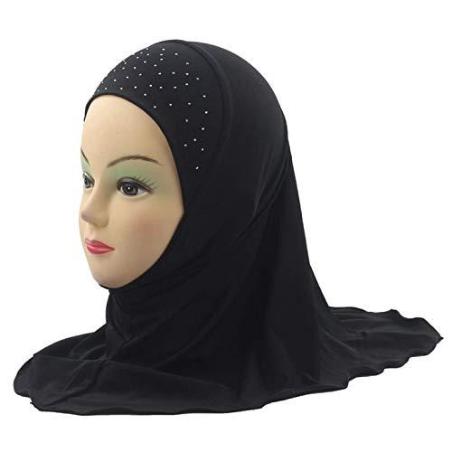 Aohua Kinder Muslimisch Hijab Islamisches Arabische Schal Kinder Mädchen Kopfbedeckung Arabischer Hut für Zelten, Picknick und Andere Außen Aktivitäten - Schwarz