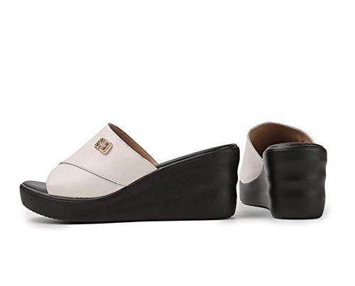 Punta abierta pantuflas, zapatillas talón de las señoras de pendiente, sandalias inferiores suaves cómodos y zapatillas-white_36, diapositivas sandalias del dedo del pie abierto de unisex adultas liuc
