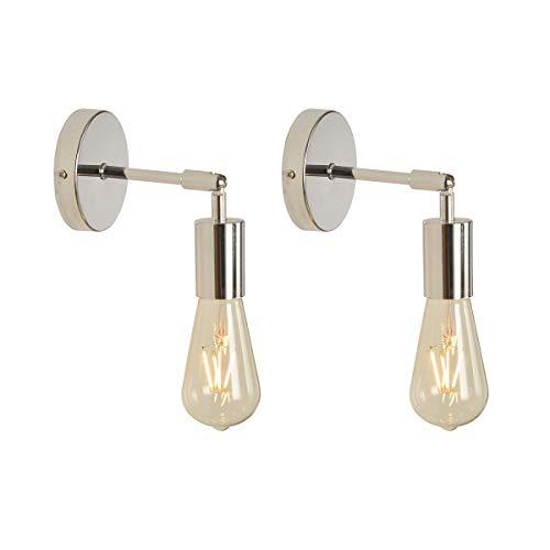 BAODEN 2er Pack Wandlampe E27 Badezimmer Wandleuchten Rustikal Industrie Loft Schwenkbar Wandleuchte Pole Wandbeleuchtung Leuchte (Chrom Farbe) [Energieklasse A++]