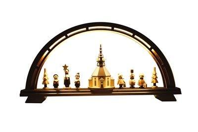 Schwibbogen Seiffener Christmette klein LED BxHxT 53x25x7 cm NEU Erzgebirgische Volkskunst Erzgebirgische Handarbeit Lichterbogen Leuchterbogen