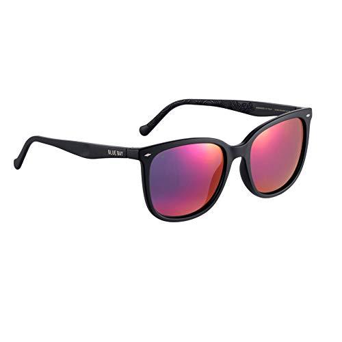 BLUE BAY ELUSOR, Gafas de Sol Polarizadas para Mujer, Protección UV 100%, Actividades al Aire Libre, Gafas de Sol de Material Reciclado, Ligeras y Flexibles, Montura Negra y Cristales Rosas, 23 gramos