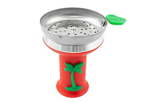 Cazoleta para cachimba shisha hookah - Diseño premium - Silicona ignífuga palmera (Rojo)