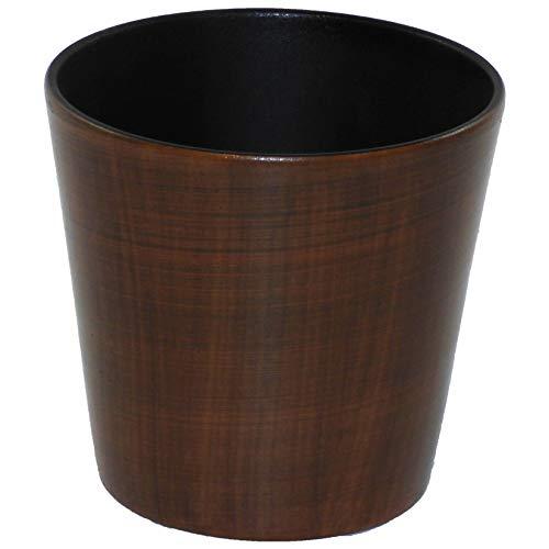 Keramik Übertopf Korfu mit Bali Holzdekor Ø 18,0 cm Höhe 17,0 cm