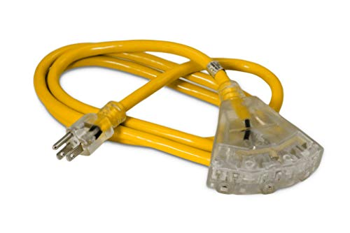 6-ft 12/3 Heavy Duty 3-Outlet Lighted SJTW Indoor/Outdoor Extension Cord by Watt