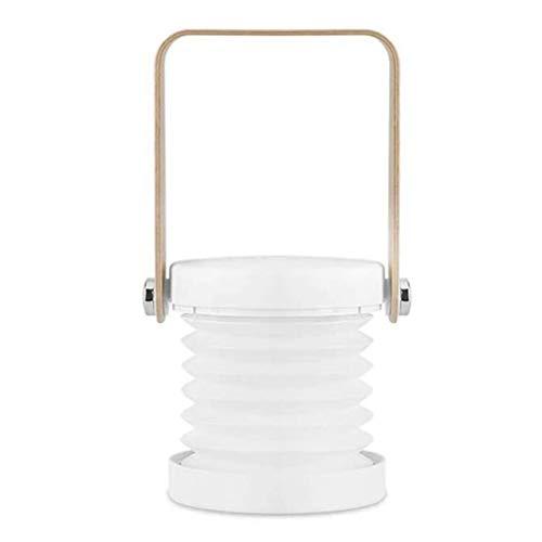 Oldreaming-2 en 1 Linterna LED moderna o retro, rotación de 360° luz nocturna plegable con control táctil, con 3 niveles de brillo recargable USB lámpara de mesa, para dormitorio, bebé, blanco