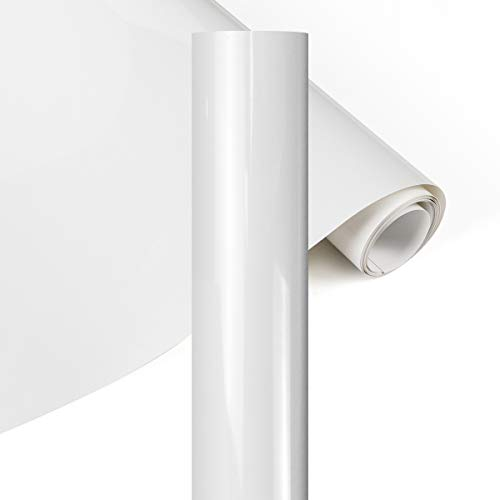 YRYM HT Premium Plotterfolie Textil-30.5cmx152.4cm Flexfolie für Aufbügeln von T-Shirts & Anderen Stoffen Stoffe(Weiß)