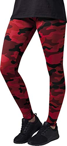 Urban Classics TB1331 Damen und Mädchen Camo Leggings, lange Camouflage Sporthose für Frauen, Yogahose, red camo, XS