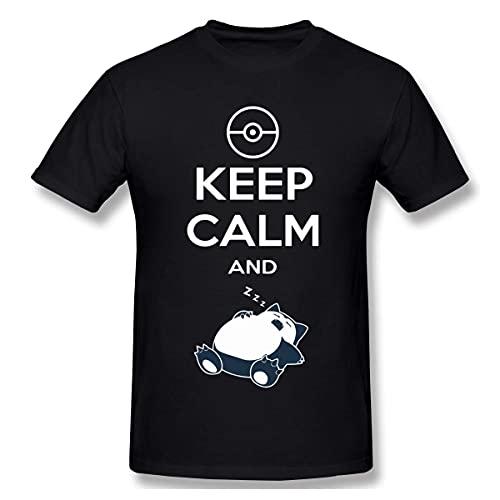 Ahdyr Maglietta Divertente da Uomo Amazing Pet Snorlax Keep Calm e Maglietta Standard a Maniche Corte da Uomo Maglietta Nera