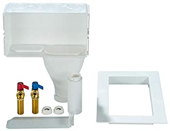 Water-Tite 87349 Right-Hand Drain Wide-Mouth Washing Machine Outlet Box - Quarter-Turn Brass Valves  Uninstalled  1/2-Inch Sweat Connection White Plastic