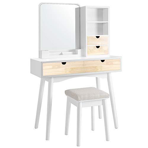 VASAGLE Schminktisch mit Spiegel, Frisiertisch mit 4 Schubladen, 2 offenen Fächern und Make-up-Organizer, Kosmetiktisch mit Hocker, Frisierkommode, Schlafzimmer, schlicht, weiß-naturfarben RDT32K