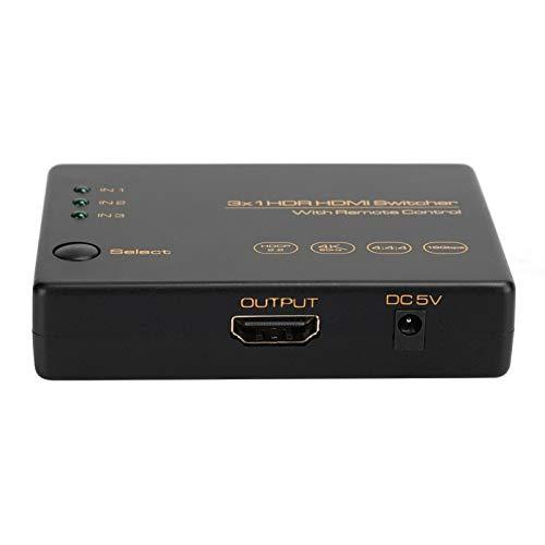 FOLOSAFENAR Dispositivo de Interruptor HDMI práctico confiable Estable 3 Puertos HDR HDMI Switcher, para Base de alimentación USB