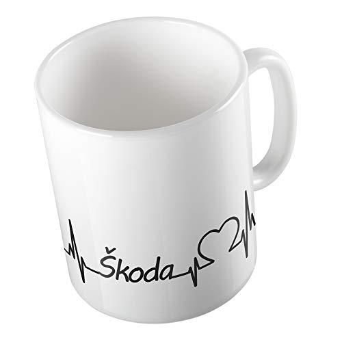 Bedruckte Tasse Becher für Skoda Fans Herzschlag Puls Herz Automarke Marke Liebe