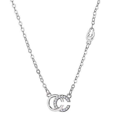 Xianglsp Co.,ltd Collar Carta De Personalidad Doble C 925 Collar Colgante De Plata para Mujer Joyería De Moda Viene con Caja De Regalo Cumpleaños para Mujeres Y Niñas