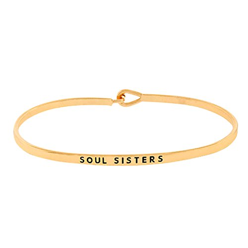 Rosemarie Collections Women's Thin Hook Bangle Bracelet 'Soul Sisters' (Gold)