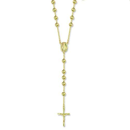 Rosario de oro amarillo de 9 quilates para collar, 71 cm