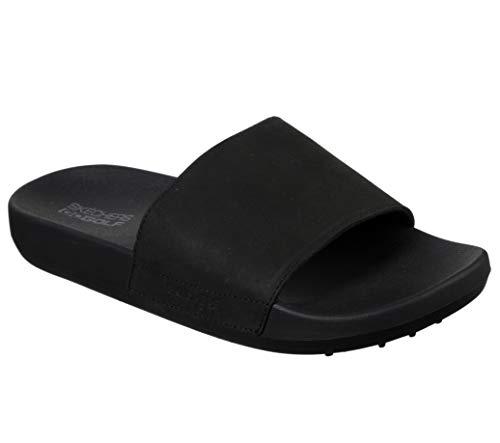 Skechers Men's 19th Hole Leather Strap Golf Slide Sandal, Black, 10 M US