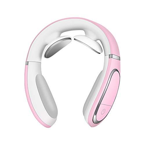 Mini masajeador eléctrico de cuello multifuncional tejido profundo inalámbrico instrumento de masaje con calor rosa