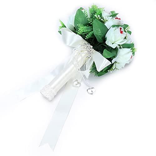Buquê de casamento, buquê artificial Buquê romântico adiciona buquê de noiva quente para fases de casamentos(white)