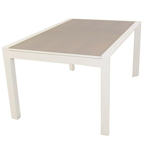 Edenjardi Mesa de Exterior Extensible 160/210 cm, Estructura de Aluminio Color Blanco, Cristal Mate, Grueso y Templado Color taupé