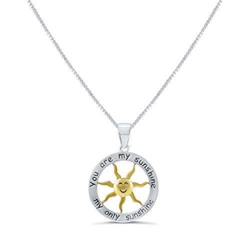 Sterling Silver Two Tone You are my Sunshine my Only Sunshine Necklace 18""